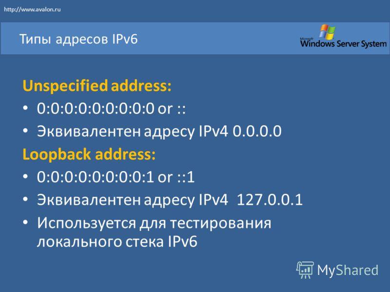 Типы адресов IPv6 Unspecified address: 0:0:0:0:0:0:0:0:0 or :: Эквивалентен адресу IPv4 0.0.0.0 Loopback address: 0:0:0:0:0:0:0:0:1 or ::1 Эквивалентен адресу IPv4 127.0.0.1 Используется для тестирования локального стека IPv6 http://www.avalon.ru