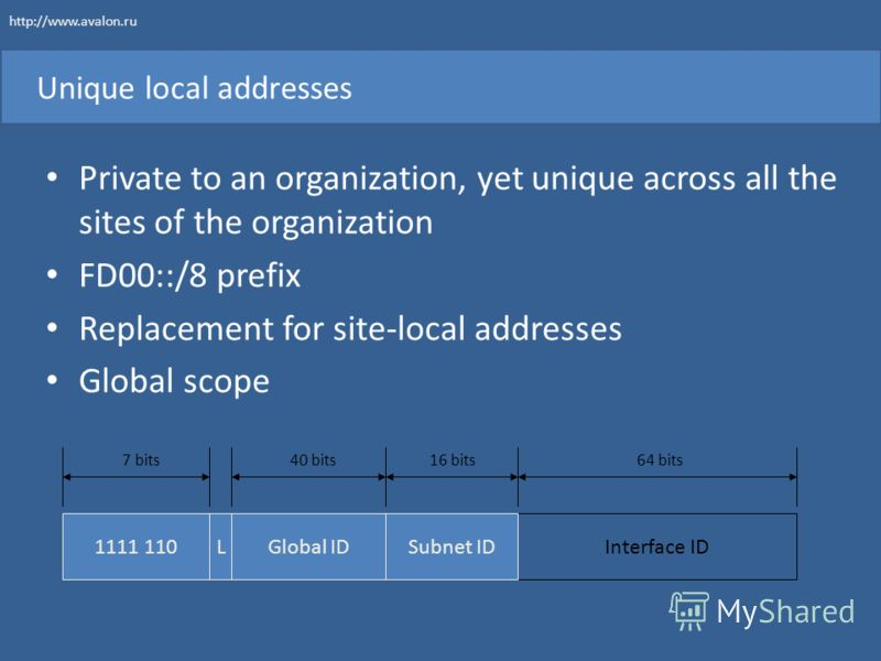 Unique local addresses Private to an organization, yet unique across all the sites of the organization FD00::/8 prefix Replacement for site-local addresses Global scope 1111 110Interface ID 7 bits64 bits Global ID 40 bits Subnet ID 16 bits L http://w