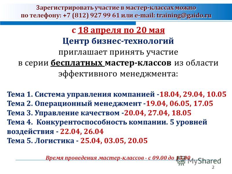 Зарегистрировать участие в мастер-классах можно по телефону: +7 (812) 927 99 61 или e-mail: training@gaido.ru 2 с 18 апреля по 20 мая Центр бизнес-технологий приглашает принять участие в серии бесплатных мастер-классов из области эффективного менеджм