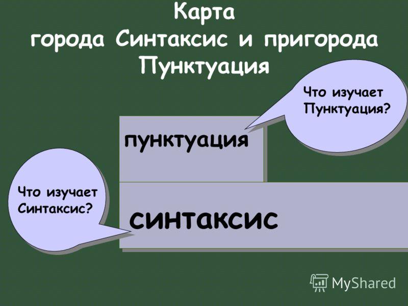 Карта города Синтаксис и пригорода Пунктуация синтаксис пунктуация Что изучает Синтаксис? Что изучает Пунктуация?