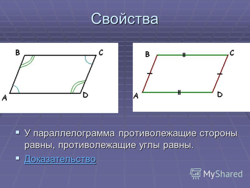 Свойства У параллелограмма противолежащие стороны равны, противолежащие углы равны. У параллелограмма противолежащие стороны равны, противолежащие углы равны. Доказательство Доказательство Доказательство