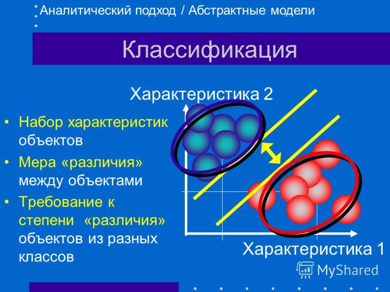 Классификация Классы не пересекаются и покрывают все множество объектов Различиями внутри классов пренебрегают, различия между классами абсолютизируются Классы обозначаются (имя, номер, символ) Идентификация объекта - выяснение, к какому классу он от