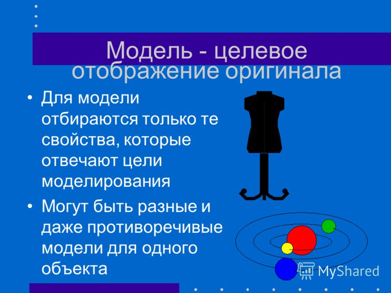 Модель - приближенное отображение оригинала Модели подобны оригиналу в разной степени приближенности Возможность увеличивать степень приближенности к оригиналу Модель - Объект