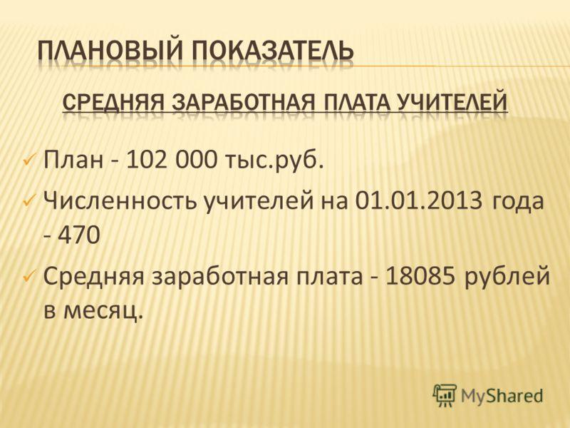 План - 102 000 тыс.руб. Численность учителей на 01.01.2013 года - 470 Средняя заработная плата - 18085 рублей в месяц.