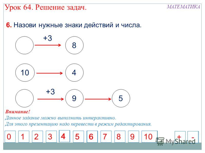 8 +3 104 +3 59 6. Назови нужные знаки действий и числа. 5716892010 4 356 4 +-+- Внимание! Данное задание можно выполнить интерактивно. Для этого презентацию надо перевести в режим редактирования. МАТЕМАТИКА Урок 64. Решение задач.