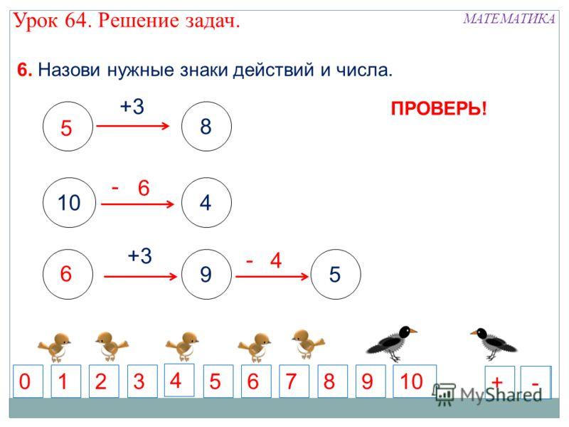 8 +3 104 +3 59 6. Назови нужные знаки действий и числа. 5 71 6 892010 4 3 + - - 6 56 4 +-+- ПРОВЕРЬ! МАТЕМАТИКА Урок 64. Решение задач.