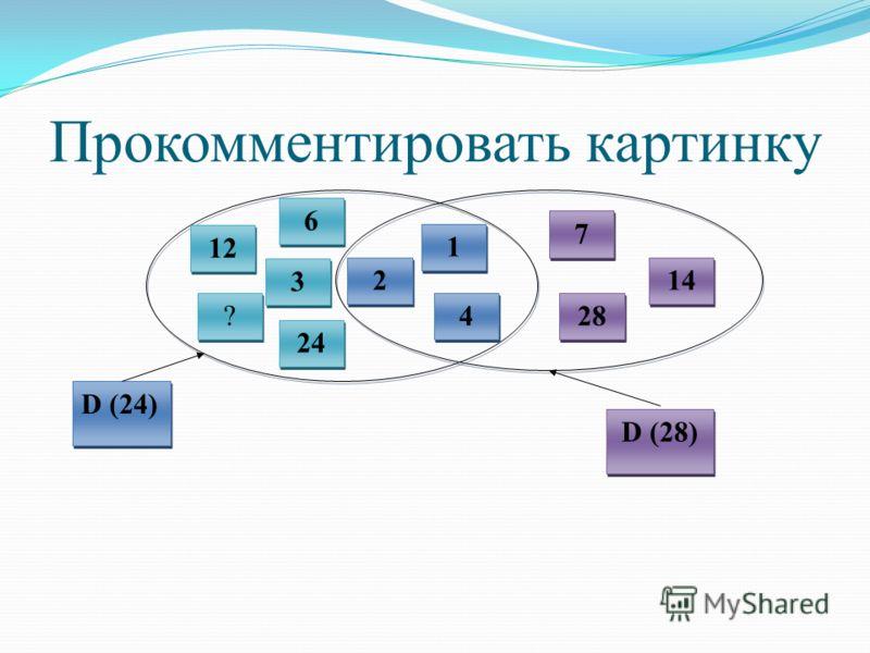 Прокомментировать картинку 12 6 6 3 3 4 4 2 2 1 1 28 14 7 7 D (24) D (28) ? ? 24