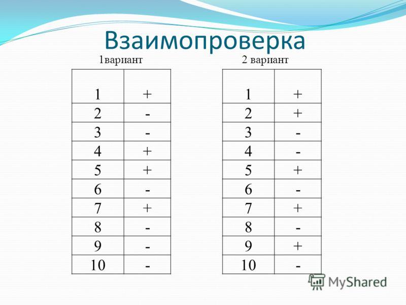 Взаимопроверка 1вариант2 вариант 1+1+ 2-2+ 3-3- 4+4- 5+5+ 6-6- 7+7+ 8-8- 9-9+ 10- -