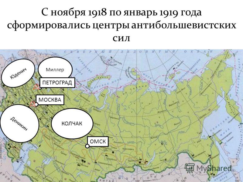 С ноября 1918 по январь 1919 года сформировались центры антибольшевистских сил ОМСК УФА МОСКВА Деникин Юденич Миллер ПЕТРОГРАД КОЛЧАК