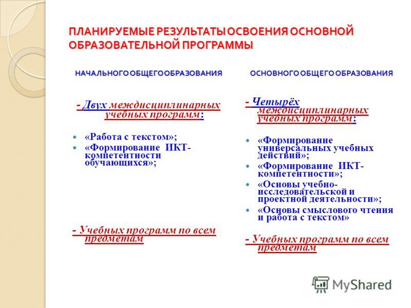 ПЛАНИРУЕМЫЕ РЕЗУЛЬТАТЫ ОСВОЕНИЯ ОСНОВНОЙ ОБРАЗОВАТЕЛЬНОЙ ПРОГРАММЫ НАЧАЛЬНОГО ОБЩЕГО ОБРАЗОВАНИЯ - Двух междисциплинарных учебных программ: «Работа с текстом»; «Формирование ИКТ- компетентности обучающихся»; - Учебных программ по всем предметам ОСНОВ