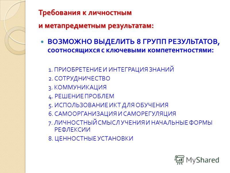 Требования к личностным и метапредметным результатам : ВОЗМОЖНО ВЫДЕЛИТЬ 8 ГРУПП РЕЗУЛЬТАТОВ, соотносящихся с ключевыми компетентностями : 1. ПРИОБРЕТЕНИЕ И ИНТЕГРАЦИЯ ЗНАНИЙ 2. СОТРУДНИЧЕСТВО 3. КОММУНИКАЦИЯ 4. РЕШЕНИЕ ПРОБЛЕМ 5. ИСПОЛЬЗОВАНИЕ ИКТ Д