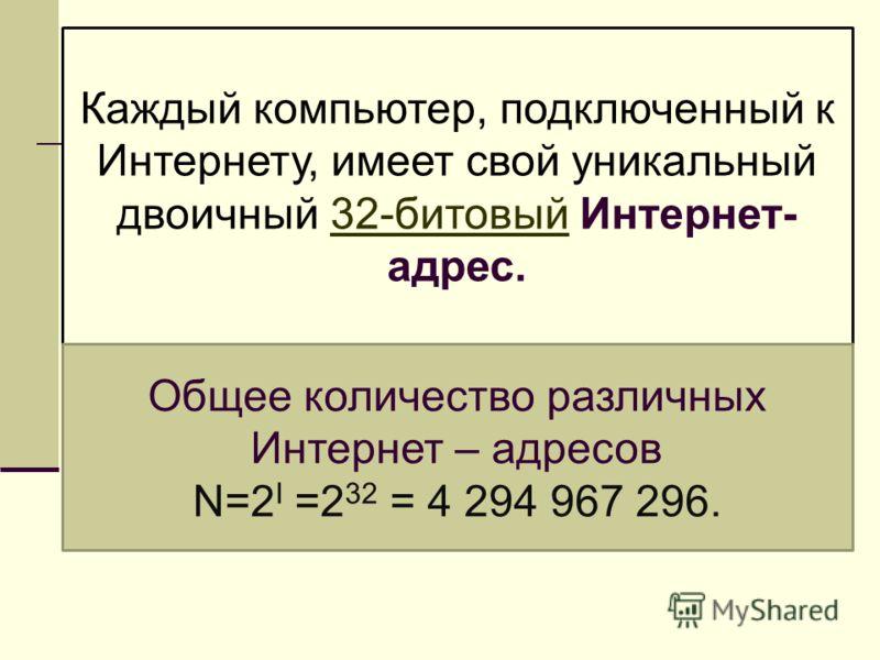 Каждый компьютер, подключенный к Интернету, имеет свой уникальный двоичный 32-битовый Интернет- адрес. Общее количество различных Интернет – адресов N=2 I =2 32 = 4 294 967 296.