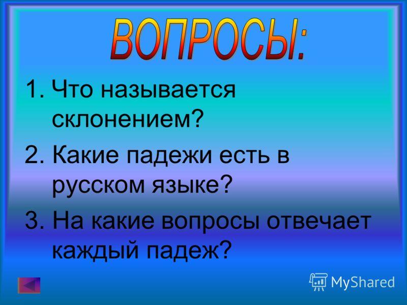 1.Что называется склонением? 2. Какие падежи есть в русском языке? 3. На какие вопросы отвечает каждый падеж?
