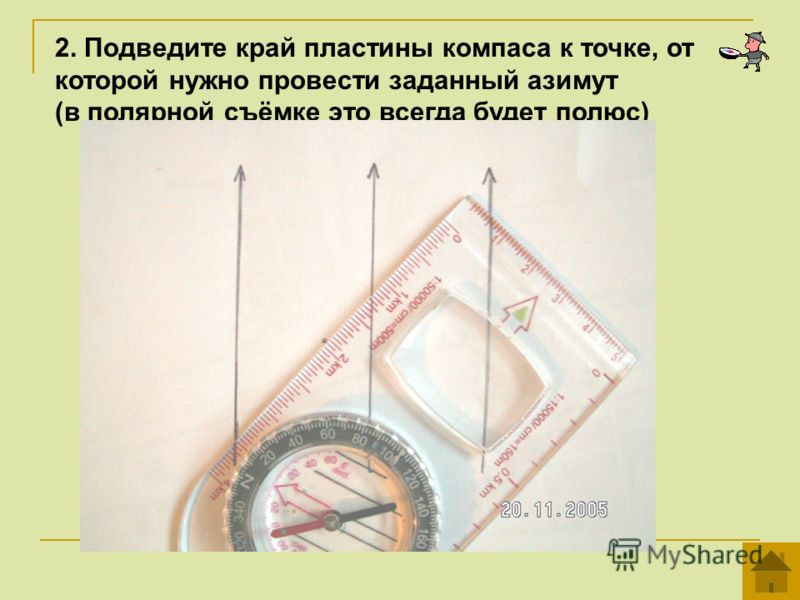 2. Подведите край пластины компаса к точке, от которой нужно провести заданный азимут (в полярной съёмке это всегда будет полюс)