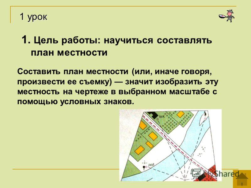 1. Цель работы: научиться составлять план местности Составить план местности (или, иначе говоря, произвести ее съемку) значит изобразить эту местность на чертеже в выбранном масштабе с помощью условных знаков. 1 урок
