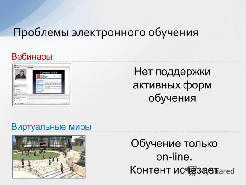 Проблемы электронного обучения Виртуальные миры Вебинары Нет поддержки активных форм обучения Обучение только on-line. Контент исчезает