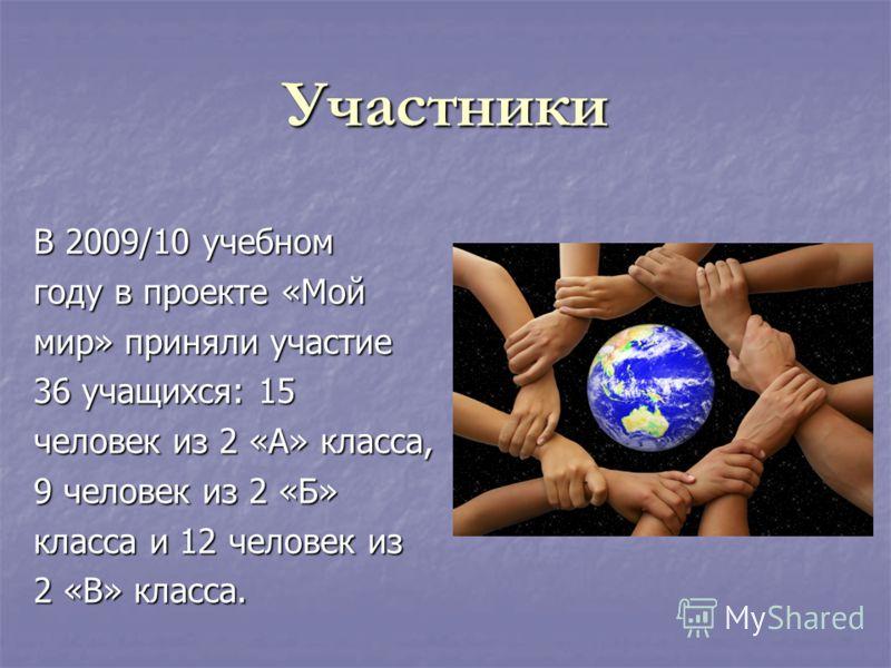 Участники В 2009/10 учебном году в проекте «Мой мир» приняли участие 36 учащихся: 15 человек из 2 «А» класса, 9 человек из 2 «Б» класса и 12 человек из 2 «В» класса.