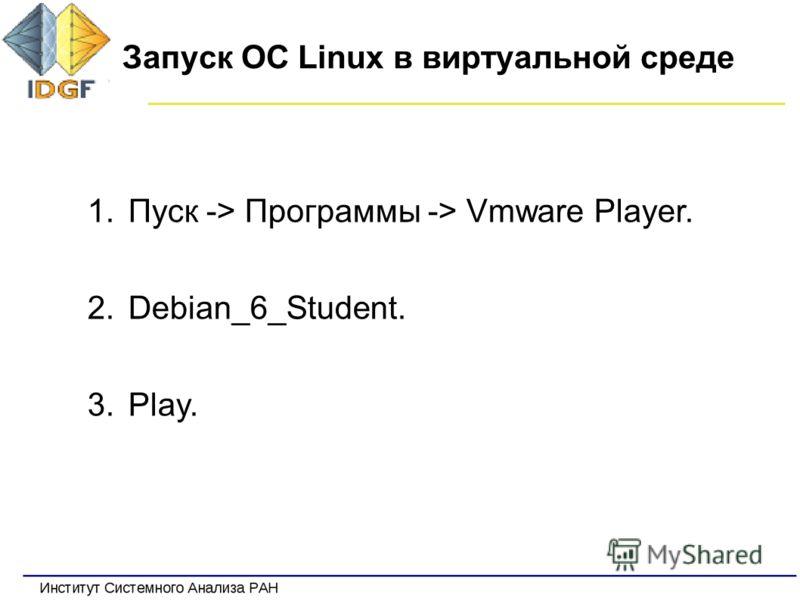 Запуск ОС Linux в виртуальной среде 1.Пуск -> Программы -> Vmware Player. 2.Debian_6_Student. 3.Play.