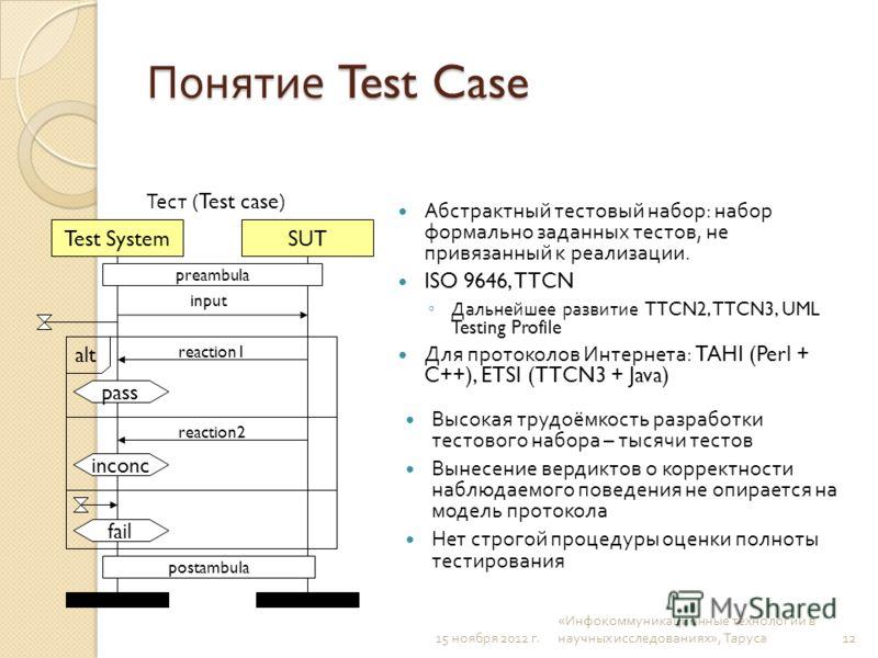 Понятие Test Case Абстрактный тестовый набор : набор формально заданных тестов, не привязанный к реализации. ISO 9646, TTCN Дальнейшее развитие TTCN2, TTCN3, UML Testing Profile Для протоколов Интернета : TAHI (Perl + C++), ETSI (TTCN3 + Java) Высока