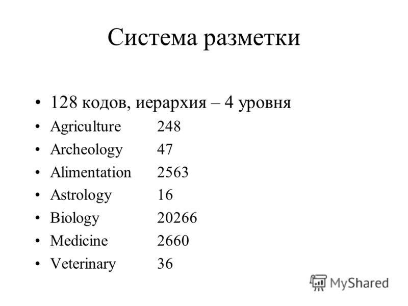 Система разметки 128 кодов, иерархия – 4 уровня Agriculture 248 Archeology47 Alimentation2563 Astrology16 Biology20266 Medicine2660 Veterinary36