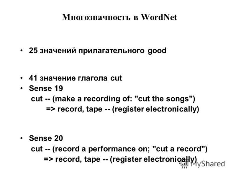 Многозначность в WordNet 25 значений прилагательного good 41 значение глагола cut Sense 19 cut -- (make a recording of: