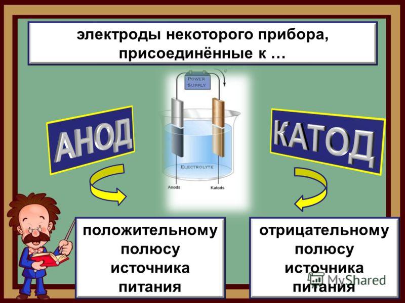 электроды некоторого прибора, присоединённые к … положительному полюсу источника питания отрицательному полюсу источника питания