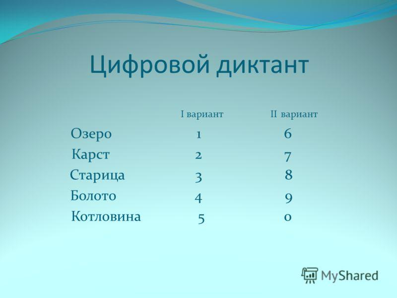 Цифровой диктант I вариант II вариант Озеро 1 6 Карст 2 7 Старица 3 8 Болото 4 9 Котловина 5 0