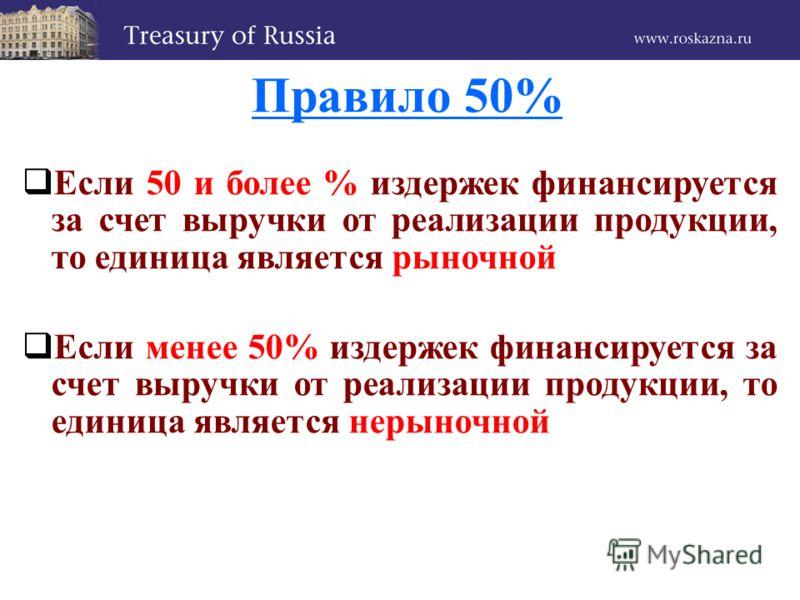 Правило 50% Если 50 и более % издержек финансируется за счет выручки от реализации продукции, то единица является рыночной Если менее 50% издержек финансируется за счет выручки от реализации продукции, то единица является нерыночной