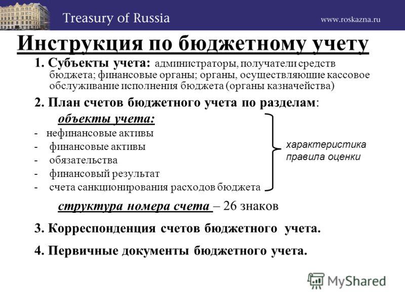Инструкция бюджетного учета