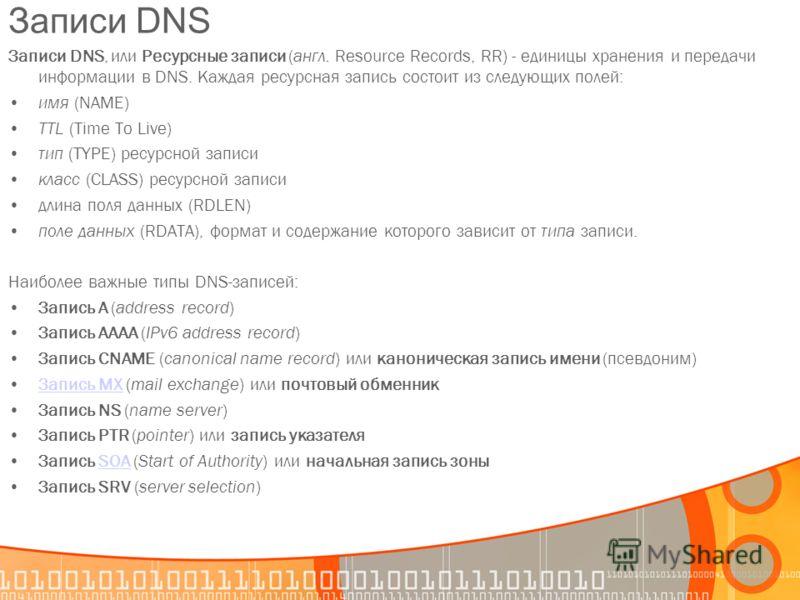 Записи DNS Записи DNS, или Ресурсные записи (англ. Resource Records, RR) - единицы хранения и передачи информации в DNS. Каждая ресурсная запись состоит из следующих полей: имя (NAME) TTL (Time To Live) тип (TYPE) ресурсной записи класс (CLASS) ресур