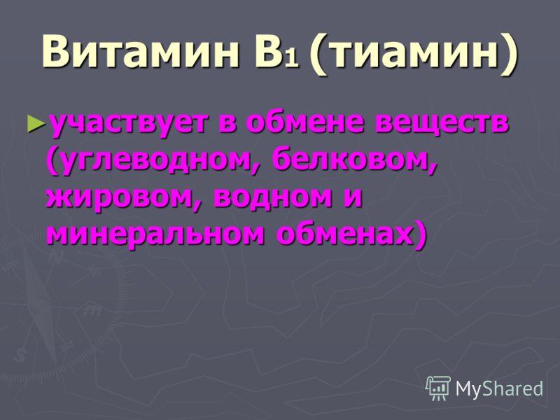 Витамин В 1 (тиамин) участвует в обмене веществ (углеводном, белковом, жировом, водном и минеральном обменах) участвует в обмене веществ (углеводном, белковом, жировом, водном и минеральном обменах)