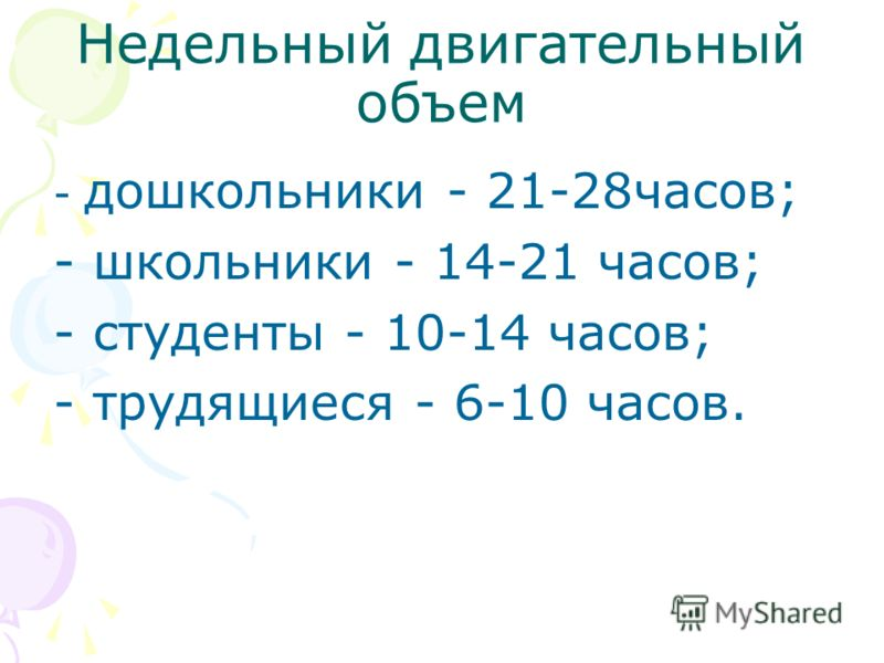 Недельный двигательный объем - дошкольники - 21-28часов; - школьники - 14-21 часов; - студенты - 10-14 часов; - трудящиеся - 6-10 часов.