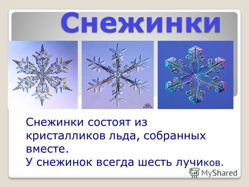 Снежинки Снежинки состоят из кристалликов льда, собранных вместе. У снежинок всегда шесть лучи ков.