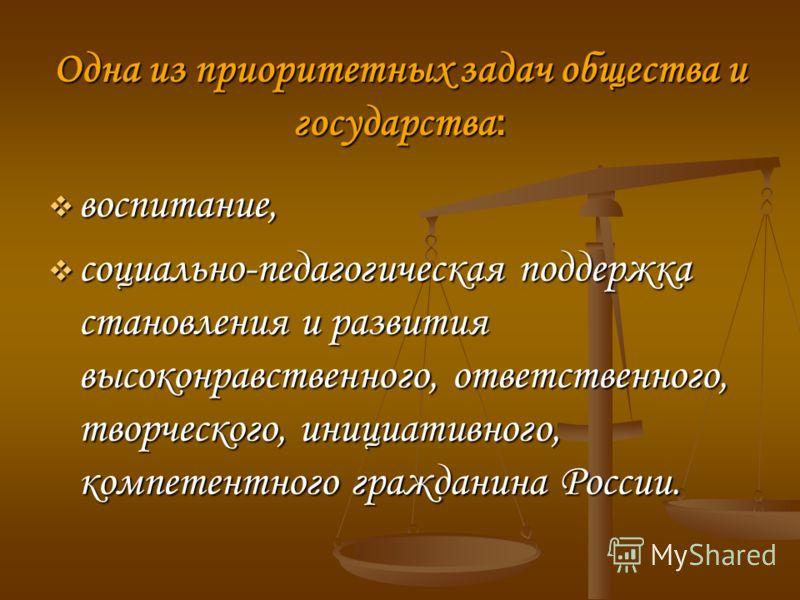 Одна из приоритетных задач общества и государства : воспитание, воспитание, социально-педагогическая поддержка становления и развития высоконравственного, ответственного, творческого, инициативного, компетентного гражданина России. социально-педагоги