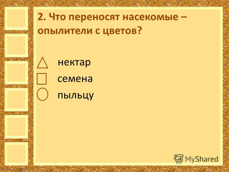 FokinaLida.75@mail.ru 2. Что переносят насекомые – опылители с цветов? нектар семена пыльцу