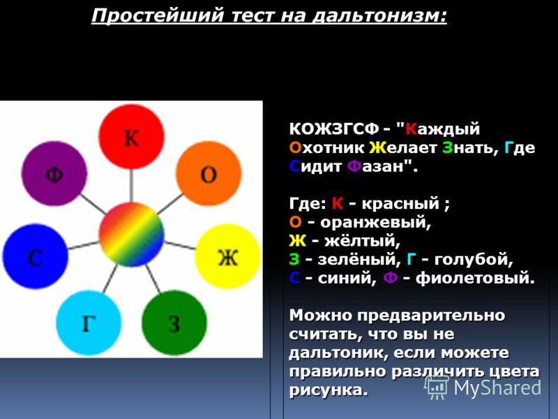 Простейший тест на дальтонизм: КОЖЗГСФ -