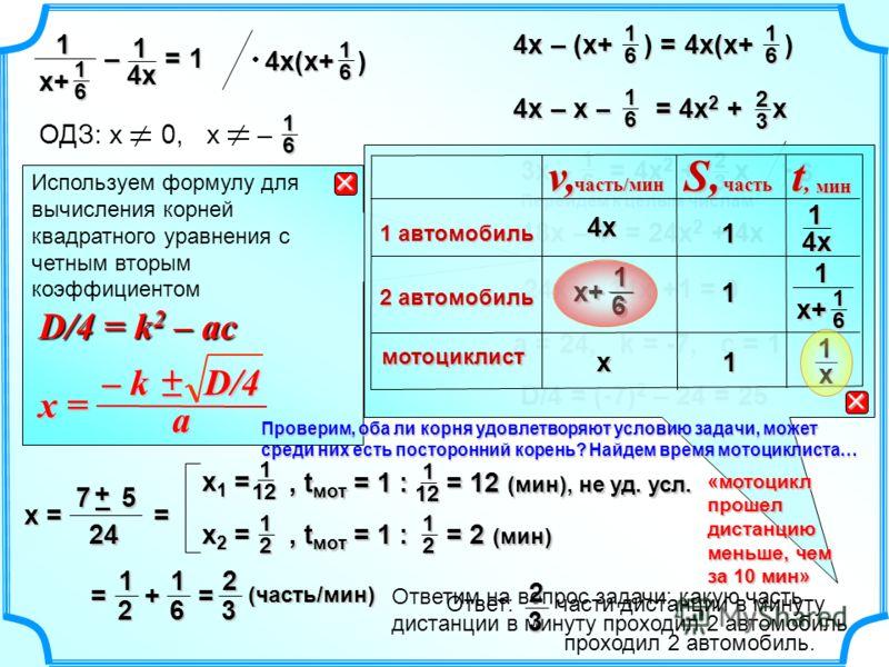 Используем формулу для вычисления корней квадратного уравнения с четным вторым коэффициентом D/4 = k 2 – ac D/4 = k 2 – ac – k D/4 – k D/4 + – x = a 2 3 3х – = 4х 2 + х 16 6 18х – 1 = 24х 2 + 4х 24х 2 – 14х +1 = 0 D/4 = (-7) 2 – 24 = 25 а = 24, k = -