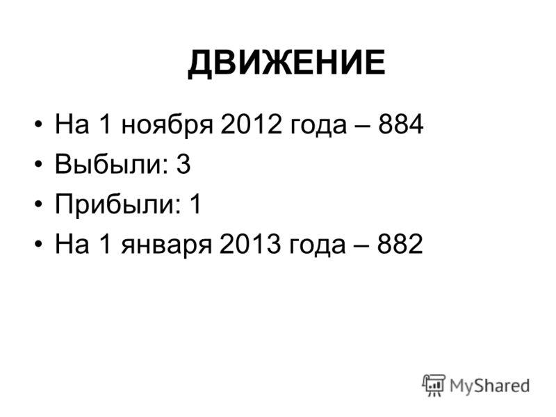ДВИЖЕНИЕ На 1 ноября 2012 года – 884 Выбыли: 3 Прибыли: 1 На 1 января 2013 года – 882