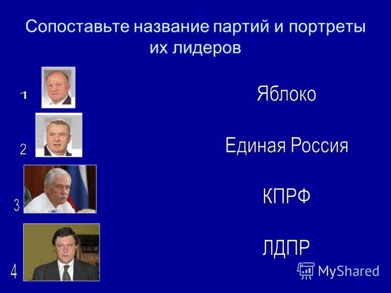 Сопоставьте название партий и портреты их лидеров