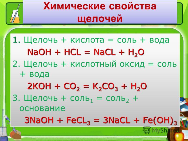 Химические свойства щелочей 1. 1. Щелочь + кислота = соль + вода NaOH + HCL = NaCL + H 2 O NaOH + HCL = NaCL + H 2 O 2. Щелочь + кислотный оксид = соль + вода 2КОН + СО 2 = К 2 СО 3 + Н 2 О 2КОН + СО 2 = К 2 СО 3 + Н 2 О 3. Щелочь + соль 1 = соль 2 +