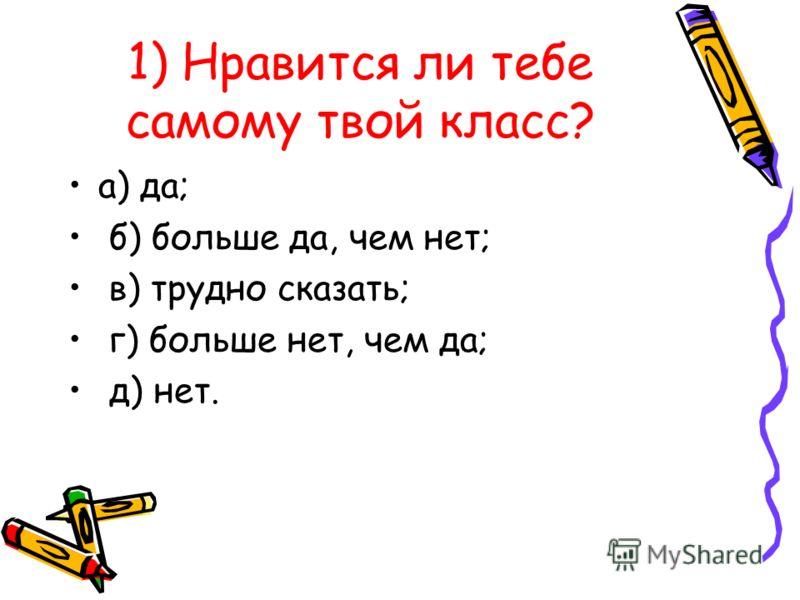 1) Нравится ли тебе самому твой класс? а) да; б) больше да, чем нет; в) трудно сказать; г) больше нет, чем да; д) нет.