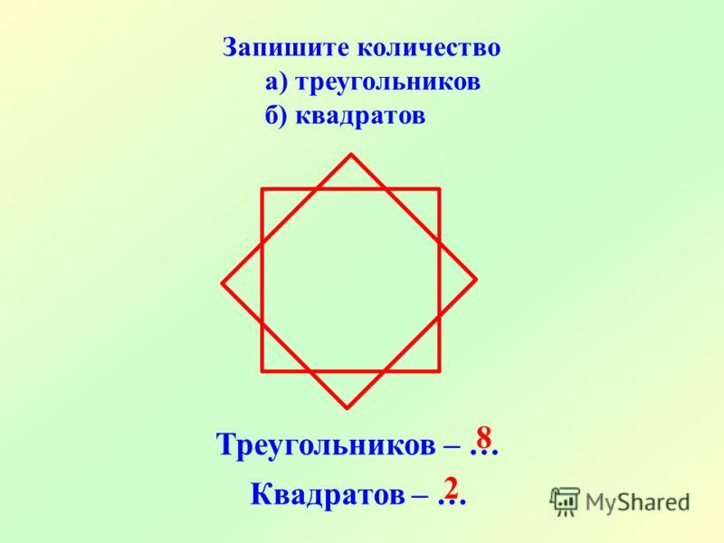 Запишите количество а) треугольников б) квадратов Треугольников – … Квадратов – … 8 2