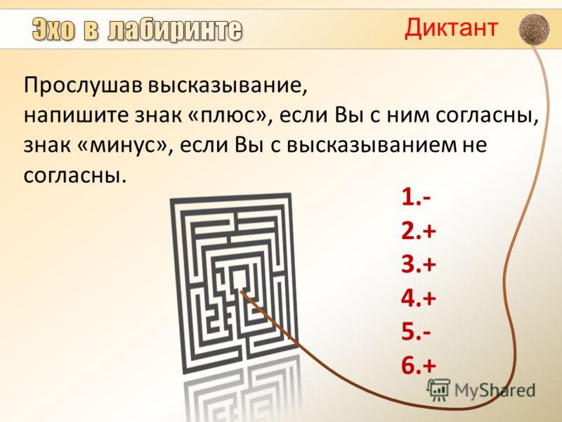 Диктант Прослушав высказывание, напишите знак «плюс», если Вы с ним согласны, знак «минус», если Вы с высказыванием не согласны. 1.- 2.+ 3.+ 4.+ 5.- 6.+