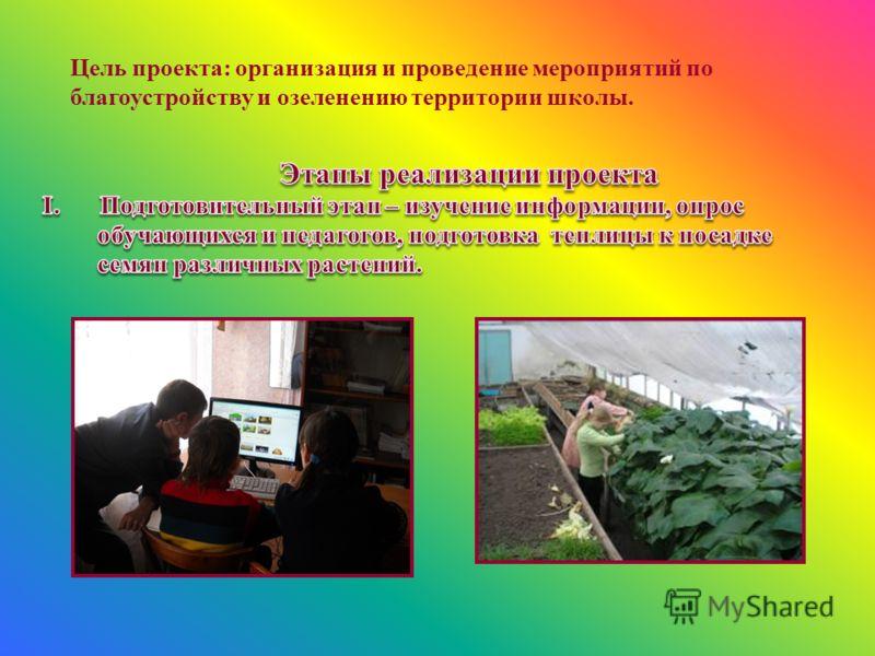 Цель проекта: организация и проведение мероприятий по благоустройству и озеленению территории школы.