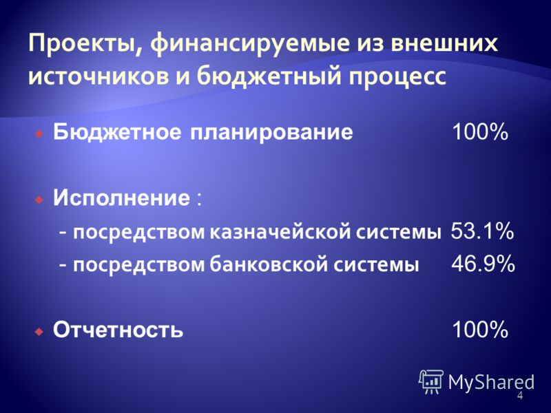4 Бюджетное планирование 100% Исполнение : - посредством казначейской системы 53.1% - посредством банковской системы 46.9% Отчетность 100%