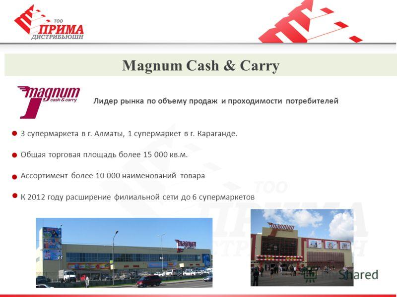 Magnum Cash & Carry Лидер рынка по объему продаж и проходимости потребителей 3 супермаркета в г. Алматы, 1 супермаркет в г. Караганде. Общая торговая площадь более 15 000 кв.м. Ассортимент более 10 000 наименований товара К 2012 году расширение филиа