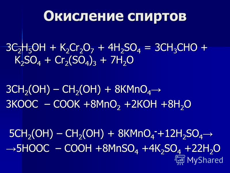 Окисление спиртов 3C 2 H 5 OH + K 2 Cr 2 O 7 + 4H 2 SO 4 = 3CH 3 CHO + K 2 SO 4 + Cr 2 (SO 4 ) 3 + 7H 2 O 3СН 2 (ОН) – СН 2 (ОН) + 8КMnO 4 3СН 2 (ОН) – СН 2 (ОН) + 8КMnO 4 3KOOC – COOK +8MnO 2 +2КОН +8Н 2 О 5СН 2 (ОН) – СН 2 (ОН) + 8КMnO 4 - +12H 2 S