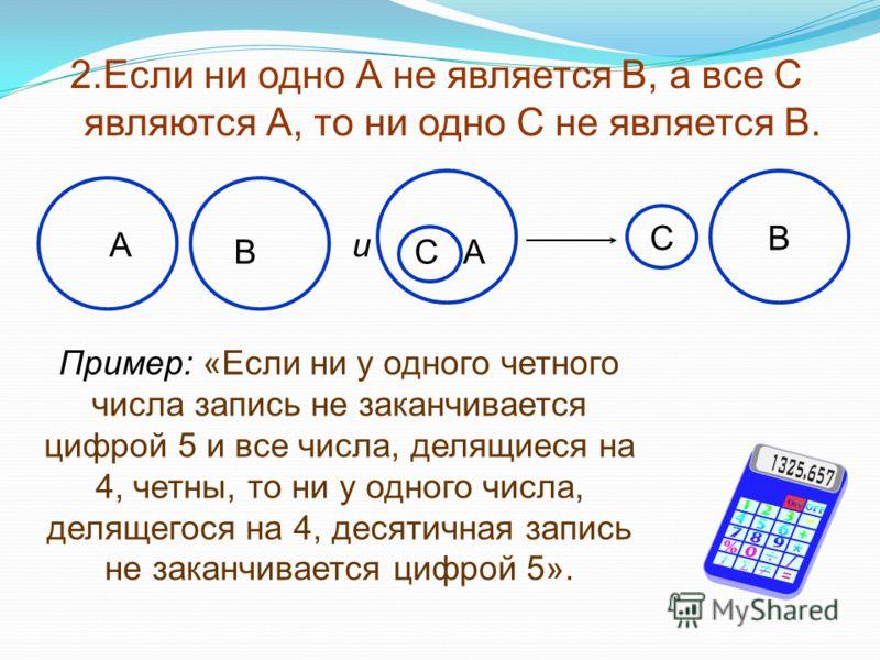 2.Если ни одно А не является В, а все С являются А, то ни одно С не является В. Пример: «Если ни у одного четного числа запись не заканчивается цифрой 5 и все числа, делящиеся на 4, четны, то ни у одного числа, делящегося на 4, десятичная запись не з