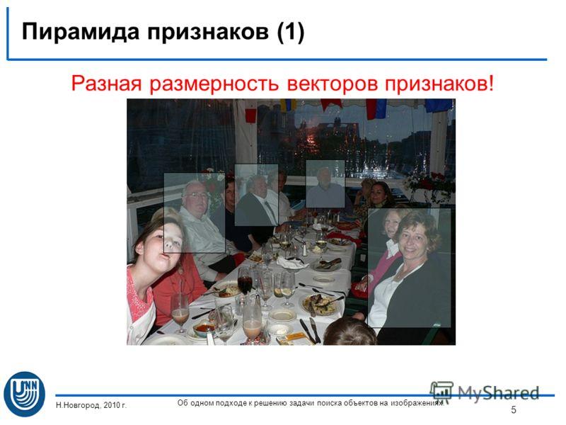 Пирамида признаков (1) Н.Новгород, 2010 г. Об одном подходе к решению задачи поиска объектов на изображениях. 5 Разная размерность векторов признаков!