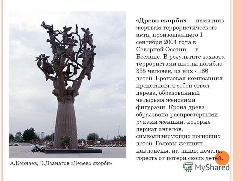 А.Корнаев, З.Дзанагов «Дерево скорби» «Древо скорби» памятник жертвам террористического акта, произошедшего 1 сентября 2004 года в Северной Осетии в Беслане. В результате захвата террористами школы погибло 335 человек, из них - 186 детей. Бронзовая к
